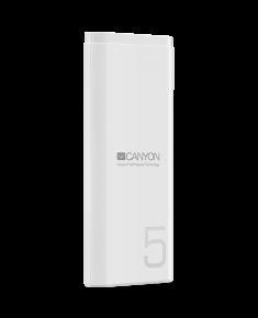 CANYON PB-53 Power bank 5000mAh Li-poly battery, Input 5V/2A, Output 5V/2.1A, with Smart IC, White, USB cable length 0.25m, 120*52*12mm, 0.120Kg