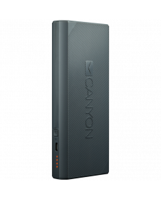CANYON Power bank 10000mAh built-in Lithium-ion battery, max output 5V2.4A, input 5V2A. Dark Gray