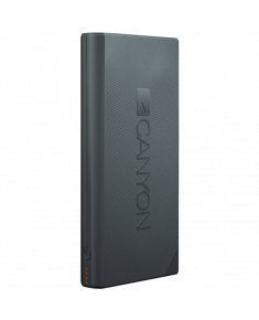 CANYON Power bank 16000mAh built-in Lithium-ion battery, max output 5V2.4A, input 5V2A, Dark Gray, Micro USB cable length 0.25m, 161*81*22mm.0.446Kg