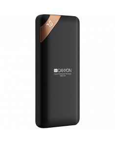 CANYON PB-102 Power bank 10000mAh Li-poly battery, Input 5V/2A, Output 5V/2.1A(Max), with Smart IC and power display, Black, USB cable length 0.25m, 137*67*13mm, 0.230Kg