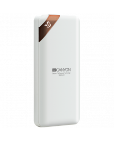 CANYON PB-102 Power bank 10000mAh Li-poly battery, Input 5V/2A, Output 5V/2.1A(Max), with Smart IC and power display, White, USB cable length 0.25m, 137*67*13mm, 0.230Kg