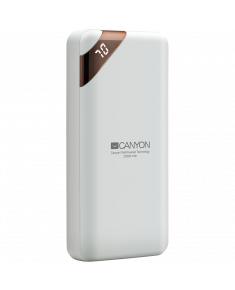 CANYON PB-202 Power bank 20000mAh Li-poly battery, Input 5V/2A, Output 5V/2.1A(Max), with Smart IC and power display, White, USB cable length 0.25m, 137*67*25mm, 0.360Kg
