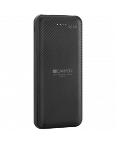 CANYON PB-105 Power bank 10000mAh Li-poly battery, Input Micro/PD 18W(Max), Output PD/QC3.0 18W(Max), with Smart IC, Quick charging cable length 0.24m, 145.5*68.5*15.5mm, 0.24kg, Black