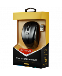 CANYON 2.4GHz wireless optical mouse with 6 buttons, DPI 800/1200/1600, Black, 92*55*35mm, 0.054kg