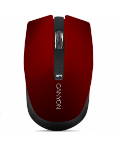 CANYON 2.4GHz wireless Optical Mouse with 4 buttons, Optical 800/1200/1600, power saving technology), Red, 100*50*31.2mm, 0,051kg