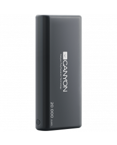 CANYON Power bank 20000mAh built-in 1057120 Li-poly battery, Input 5V/2.1A, Output 5V/2.1A(Max), with Smart IC, Black, 3in1 USB cable length 0.3m, 140*64*23.5mm, 0.361Kg