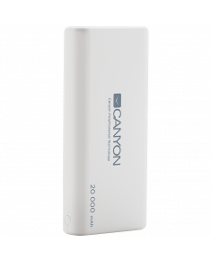 CANYON Power bank 20000mAh built-in 1057120 Li-poly battery, Input 5V/2.1A, Output 5V/2.1A(Max), with Smart IC, White, 3in1 USB cable length 0.3m, 140*64*23.5mm, 0.361Kg
