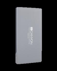 CANYON Power bank 10000mAh Li-polymer battery,with Smart IC, Input 5V/2A, Output 5V/2A(Max), 137.5*69*15.8mm, 0.23kg, Dark Gray