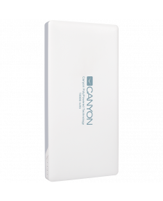 CANYON Power bank 10000mAh (Color: White), bulit in Lithium Polymer Battery