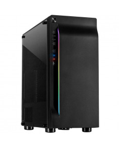 Chassis INTER-TECH A-3411 Creek Gaming Tower, ATX, 1xUSB3.0, 2xUSB2.0, PSU optional, Window side panel, LED light on the front, integrated RGB LED, Black