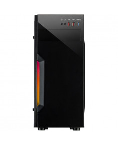 Chassis INTER-TECH B-42 Black Midi Tower, ATX, 1xUSB3.0, 2xUSB2.0, RGB LED strip, acryl side panel, PSU optional