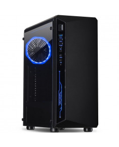 Chassis INTER-TECH C-3 SAPHIR Gaming Midi Tower, ATX, 1xUSB3.0, 2xUSB2.0, audio, PSU optional, Tempered glass side panel, Illuminated connections in the front, RGB control board, 120mm RGB fan, Dust filters, Black