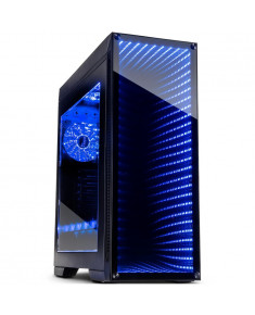 Chassis INTER-TECH M-908 Gaming Midi Tower, eATX, 2xUSB3.0, 2xUSB2.0, audio, PSU optional, Window side panel, Tempered glass front with RGB Infinity-Mirror, 3x 120mm RGB fans, RGB LED strip, Dust filters, Black