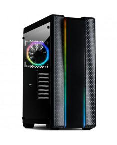 Chassis INTER-TECH S-3901 Impulse Gaming Midi Tower, ATX, 2xUSB3.0, 2xUSB2.0, Tempered Glass side panel and 2xRGB LED strips, audio, 120mm RGB LED fan, PSU optional