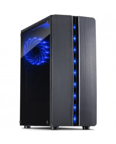 Chassis INTER-TECH Thunder Gaming Midi Tower, ATX, 1xUSB3.0, 2xUSB2.0, HD audio, PSU optional, Window side panel, LED light on the front, 1x 120mm serial blue LED, Black