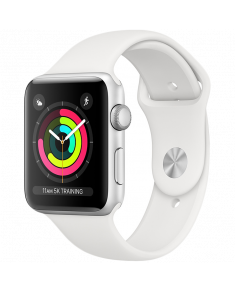 Apple Watch Series 3 GPS, 42mm Silver Aluminium Case with White Sport Band, Model A1859