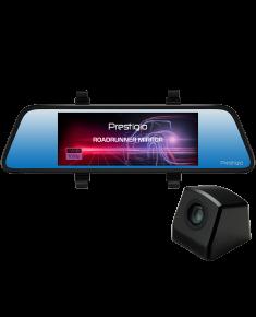 Car Video Recorder PRESTIGIO RoadRunner MIRROR (Front: FHD 1920x1080@30fps Rear: VGA640x480@30fps, 6.86 inch screen, MSC8328P, 4 MP CMOS GC2023 image sensor, 12 MP camera, 120° Viewing Angle, Micro USB, 500 mAh, Automatic Night Mode, Motion Detection, G-sensor, Cyclic Recording, black, Plastic)