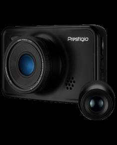 Car Video Recorder PRESTIGIO RoadRunner 527DL (Dual Camera: front - FHD 1920x1080@30fps, HD 1280x720@60fps, rear - VGA 640х480@30fps, 3.0 inch screen, NTK966580, 2 MP CMOS GC2023 image sensor, 12 MP camera, 140° Viewing Angle, Mini USB, 180 mAh, Automatic Night Mode, Motion Detection, G-sensor, Cyclic Recording, EIS, Black, Metal)