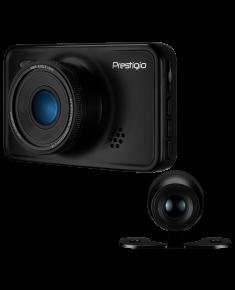 Car Video Recorder PRESTIGIO RoadRunner 527DL (Dual Camera: front - FHD 1920x1080@30fps, HD 1280x720@30fps, rear - VGA 640х480@30fps, 3.0 inch screen, NTK966580, 2 MP CMOS GC2023 image sensor, 12 MP camera, 140° Viewing Angle, Mini USB, 180 mAh, Automatic Night Mode, Motion Detection, G-sensor, Cyclic Recording, EIS, Black, Metal)