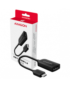 A modern USB-C -> HDMI 2.0 active adapter AXAGON RVC-HI2 for connecting an HDMI /TV/projector to a notebook or mobile phone using USB type C connector.
