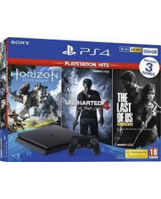 PLAYSTATION 4 CONSOLE 500GB/SLIM BK HZD/ UNCH4/ TLOUS SONY